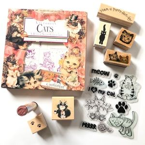 Lot of Cat Theme Rubber Stamps - 25 in All!